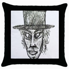 Man With Hat Head Pencil Drawing Illustration Throw Pillow Case (Black)