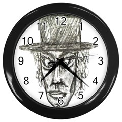 Man With Hat Head Pencil Drawing Illustration Wall Clocks (Black)