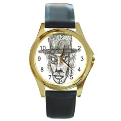 Man With Hat Head Pencil Drawing Illustration Round Gold Metal Watch