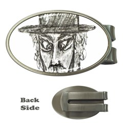Man With Hat Head Pencil Drawing Illustration Money Clips (Oval)