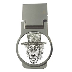 Man With Hat Head Pencil Drawing Illustration Money Clips (Round)
