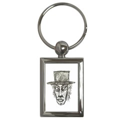 Man With Hat Head Pencil Drawing Illustration Key Chains (Rectangle)