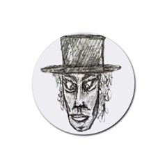 Man With Hat Head Pencil Drawing Illustration Rubber Round Coaster (4 pack)