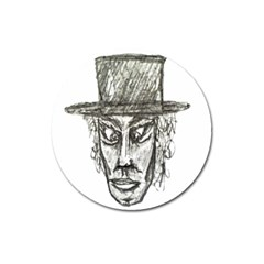 Man With Hat Head Pencil Drawing Illustration Magnet 3  (Round)