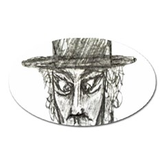 Man With Hat Head Pencil Drawing Illustration Oval Magnet