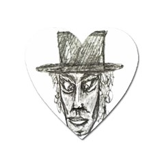 Man With Hat Head Pencil Drawing Illustration Heart Magnet