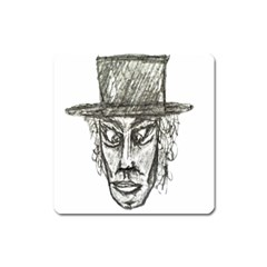 Man With Hat Head Pencil Drawing Illustration Square Magnet