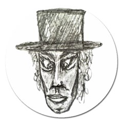 Man With Hat Head Pencil Drawing Illustration Magnet 5  (Round)