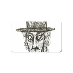 Man With Hat Head Pencil Drawing Illustration Magnet (Name Card)