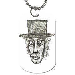 Man With Hat Head Pencil Drawing Illustration Dog Tag (One Side)