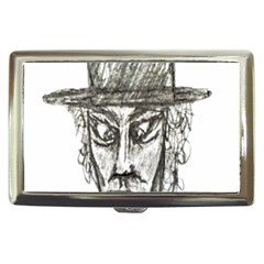 Man With Hat Head Pencil Drawing Illustration Cigarette Money Cases
