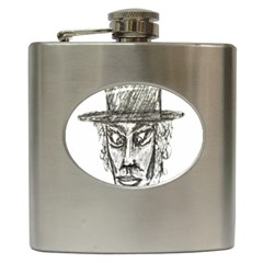 Man With Hat Head Pencil Drawing Illustration Hip Flask (6 oz)