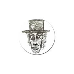 Man With Hat Head Pencil Drawing Illustration Golf Ball Marker