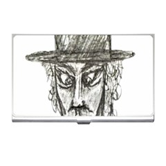 Man With Hat Head Pencil Drawing Illustration Business Card Holders