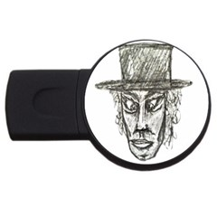 Man With Hat Head Pencil Drawing Illustration USB Flash Drive Round (2 GB)