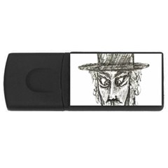 Man With Hat Head Pencil Drawing Illustration USB Flash Drive Rectangular (2 GB)