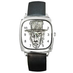 Man With Hat Head Pencil Drawing Illustration Square Metal Watch