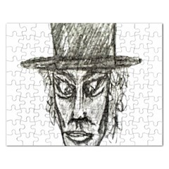 Man With Hat Head Pencil Drawing Illustration Rectangular Jigsaw Puzzl