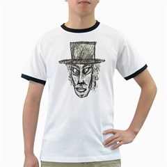 Man With Hat Head Pencil Drawing Illustration Ringer T-Shirts