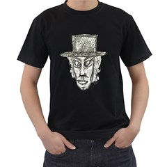 Man With Hat Head Pencil Drawing Illustration Men s T-Shirt (Black) (Two Sided)