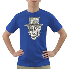 Man With Hat Head Pencil Drawing Illustration Dark T-Shirt