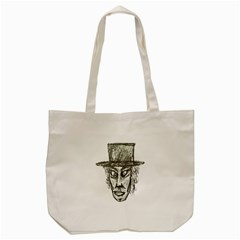 Man With Hat Head Pencil Drawing Illustration Tote Bag (Cream)