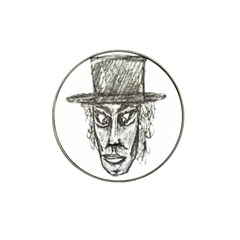 Man With Hat Head Pencil Drawing Illustration Hat Clip Ball Marker (4 pack)