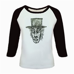 Man With Hat Head Pencil Drawing Illustration Kids Baseball Jerseys