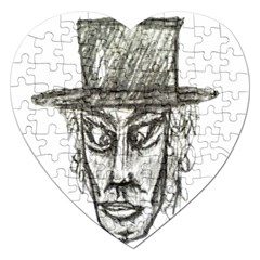 Man With Hat Head Pencil Drawing Illustration Jigsaw Puzzle (Heart)