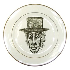 Man With Hat Head Pencil Drawing Illustration Porcelain Plates
