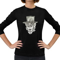 Man With Hat Head Pencil Drawing Illustration Women s Long Sleeve Dark T-Shirts