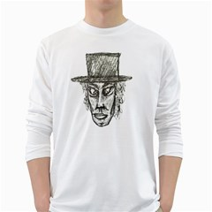 Man With Hat Head Pencil Drawing Illustration White Long Sleeve T-Shirts