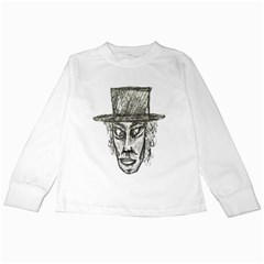 Man With Hat Head Pencil Drawing Illustration Kids Long Sleeve T-Shirts