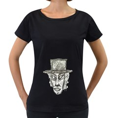 Man With Hat Head Pencil Drawing Illustration Women s Loose-Fit T-Shirt (Black)