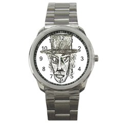 Man With Hat Head Pencil Drawing Illustration Sport Metal Watch