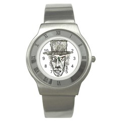 Man With Hat Head Pencil Drawing Illustration Stainless Steel Watch