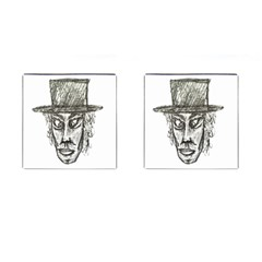 Man With Hat Head Pencil Drawing Illustration Cufflinks (Square)