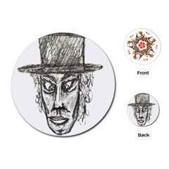 Man With Hat Head Pencil Drawing Illustration Playing Cards (Round)