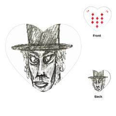Man With Hat Head Pencil Drawing Illustration Playing Cards (Heart)
