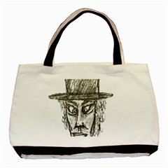 Man With Hat Head Pencil Drawing Illustration Basic Tote Bag