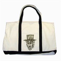 Man With Hat Head Pencil Drawing Illustration Two Tone Tote Bag
