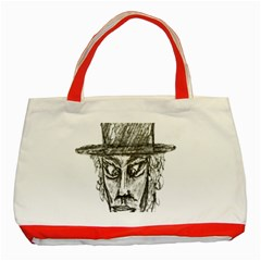 Man With Hat Head Pencil Drawing Illustration Classic Tote Bag (Red)