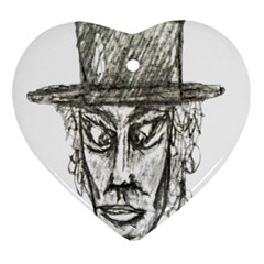 Man With Hat Head Pencil Drawing Illustration Heart Ornament (2 Sides)