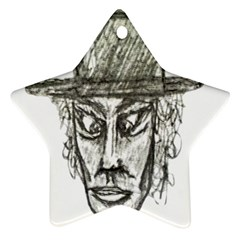 Man With Hat Head Pencil Drawing Illustration Star Ornament (Two Sides)