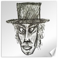 Man With Hat Head Pencil Drawing Illustration Canvas 12  x 12