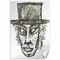 Man With Hat Head Pencil Drawing Illustration Canvas 12  x 18