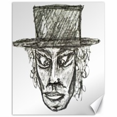 Man With Hat Head Pencil Drawing Illustration Canvas 16  x 20