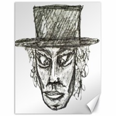 Man With Hat Head Pencil Drawing Illustration Canvas 18  x 24