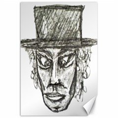 Man With Hat Head Pencil Drawing Illustration Canvas 20  x 30