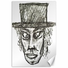 Man With Hat Head Pencil Drawing Illustration Canvas 24  x 36